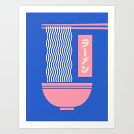 Ramen Japanese Food Noodle Bowl Chopsticks - Blue Art Print