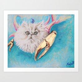 Crabby Cancer Merkitty Art Print