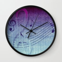 Aqua Purple Ombre Music Notes Wall Clock