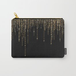 Luxury Chic Black Gold Sparkly Glitter Fringe Carry-All Pouch