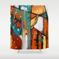 camp Shower Curtains featuring Camp fire by mystudio69