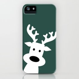 Reindeer on green background iPhone Case