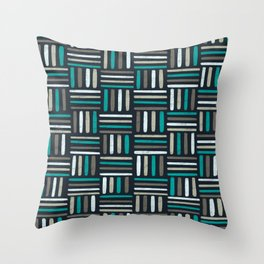 Linear Weave // Basket weave linear design in pastel colours, green, brown, white, black Throw Pillow