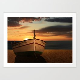 The boat in the sunset Art Print