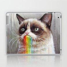 Cat Tastes the Grumpy Rainbow   Watercolor Painting Laptop & iPad Skin