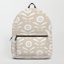 Beige and white abstract floral pattern Backpack