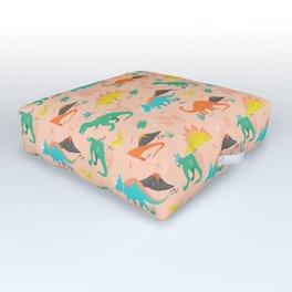 Jurassic Dinosaurs on Peach Outdoor Floor Cushion
