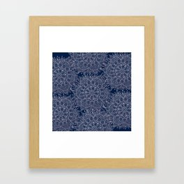 Modern navy blue blush pink watercolor floral mandala Framed Art Print