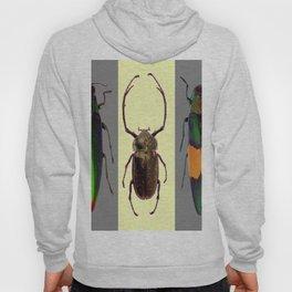 BEETLES ON CREAM & GREY  ABSTRACT ART Hoody