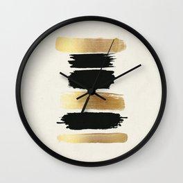 Brush Strokes (Black/Gold) Wall Clock