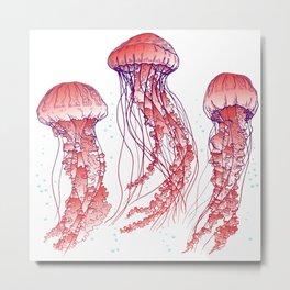 Red jellyfish Metal Print