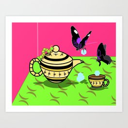 Butterfly Tea Party Art Print