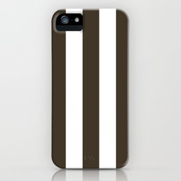 Jacko bean brown - solid color - white vertical lines pattern iPhone Case
