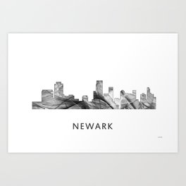 Newark, New Jersey Skyline WB BW Art Print