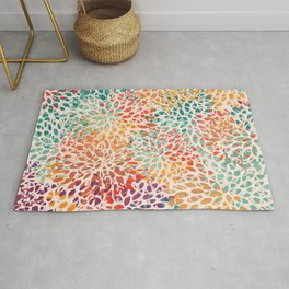 Abstract Floral Art, Colorful Prints Rug
