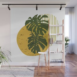 The Two Twin Leaves, Abstract Art Tropical Leaves, Summer Illustration Wall Mural
