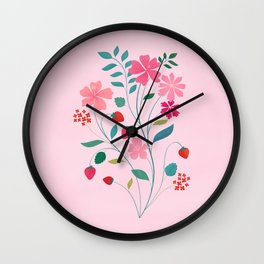 Strawberry Bouquet Wall Clock