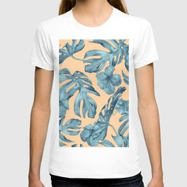 Island Life Hibiscus Palm Apricot Teal Blue T-shirt
