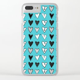 Baby Blue Heart Doodles Clear iPhone Case
