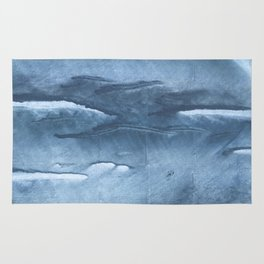 Gray Blue clouded wash drawing painting Rug