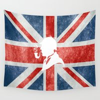 british flag Wall Tapestries featuring SHERLOCK HOLMES - BRITISH by alexa