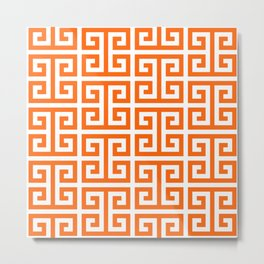 Orange and White Greek Key Pattern Metal Print
