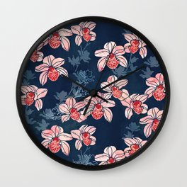 Orchid garden in peach on navy blue Wall Clock