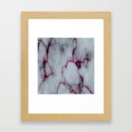 White with Maroon Marbling Framed Art Print
