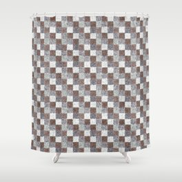 Rustic Brown Gray Beige Patchwork Shower Curtain
