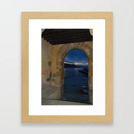 Door Framed Sunset View in Cefalu Italy Framed Art Print