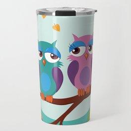 Sleepy owls in love Travel Mug