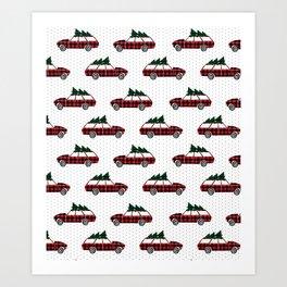 Christmas station wagon estate car holiday winter vacation vintage cars Art Print