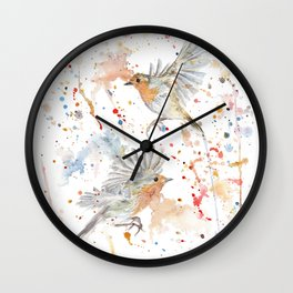 """Watercolor Painting of Picture """"Robins"""" Wall Clock"""