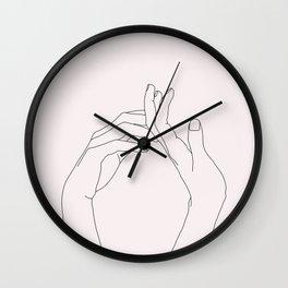 Hands line drawing illustration - Abi Natural Wall Clock