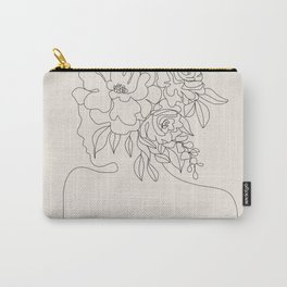 Woman with Flowers Minimal Line I Carry-All Pouch