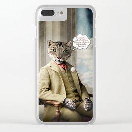 Sir Sebastian Snow Leopard Clear iPhone Case