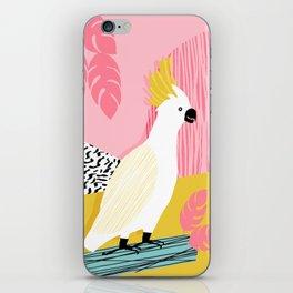 FeelFree - memphis throwback retro bird tropical nature animal parrot cockatoo 1980s 80s pop art iPhone Skin