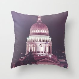 Idaho Capital Building at Night Throw Pillow