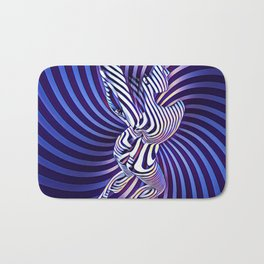 0474s-MM Sensual Woman on Knees Abstract Nude Figure Op Art Blue Topographic Feminine Power Revealed Bath Mat