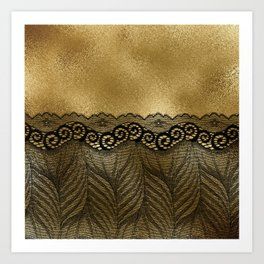 Black floral luxury lace on gold effect metal background Art Print