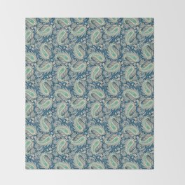 Meredith Paisley - Cerulean Blue Throw Blanket