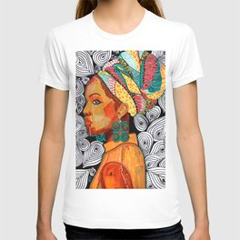 Portrait of a woman Jackie with multicolored headwrap T-shirt