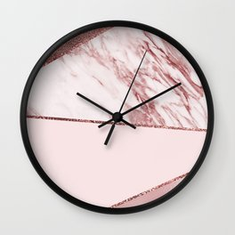 Spliced mixed pinks rose gold marble Wall Clock