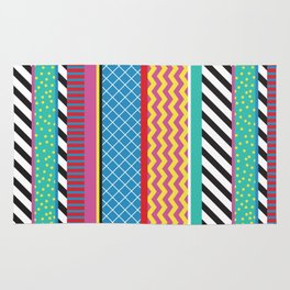 Colorful Washi Tape Graphic Rug