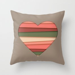 Heart Love Striped Valentine's Day Throw Pillow