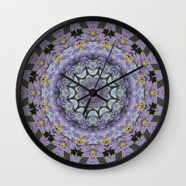 Purple Fox Flower Square Pattern Wall Clock