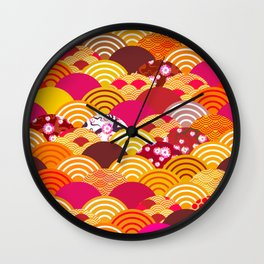 pattern scales simple Nature background with japanese sakura flower, rosy pink Cherry, wave Wall Clock