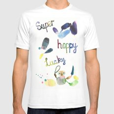 No. 635-G- Single Super Happy Lucky. White Mens Fitted Tee MEDIUM