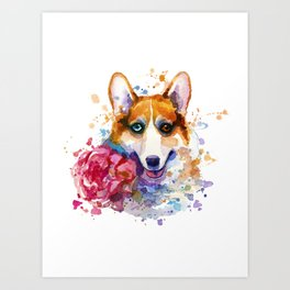 Corgi with flower Art Print