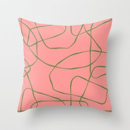 Green Line Art on Pink Background Throw Pillow